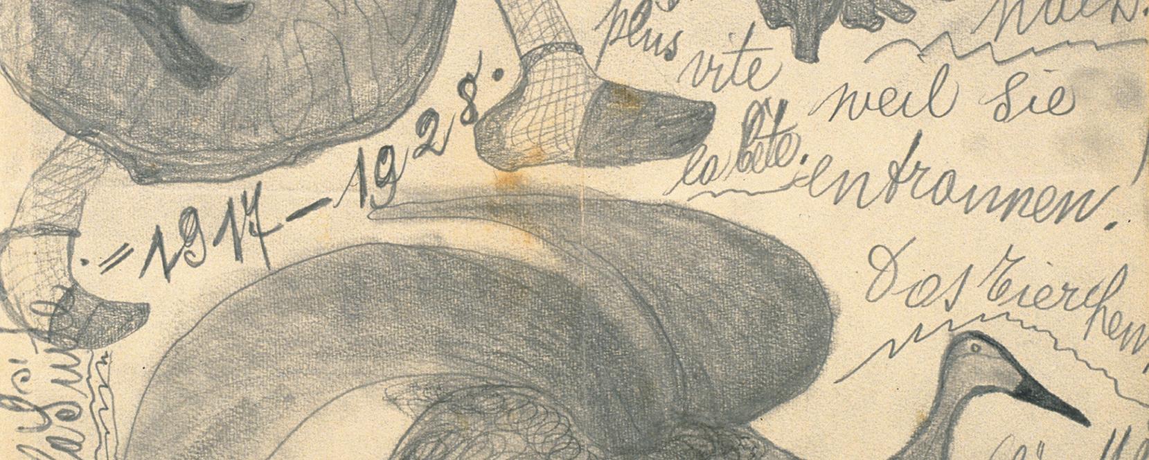 Karl M. (1886–1942), Reisender, Wirt/traveling salesman/innkeeper: «Die Frau springt der Gans nach», Bleistift auf Papier / (The Woman Jumps after the Goose), pencil on paper, 19,6 x 26,5 cm, 1917, Sammlung Königsfelden, Inv. Nr. 201, PDAG, Windisch
