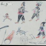 Johann Jacob E. (1858-?), Beruf unbekannt/profession unknown: Ohne Titel, Trommeln, Bleistift und Farbstift auf Papier / untitled, drums, pencil and colored pencil on paper, 10,6 x 20,6 cm, 4.3.1925, Sammlung Hasenbühl, Inv. Nr. 6