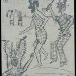 Jakob A.-L. (1893-?), Beruf unbekannt/profession unknown: Ohne Titel, Fasching, Bleistift auf Papier / untitled, carneval, pencil on paper, 29,6 x 20,7 cm, 31.8.1940, Sammlung Hasenbühl, Inv. Nr. 12