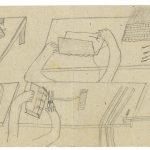 Johann Sebastian H. (1880–?), Buchbinder/bookbinder: Ohne Titel, Zeichnung seines Arbeitstisches, Bleistift auf Packpapier / untitled, drawing of a work table, pencil on packaging paper, 11 x 29,8 cm, undatiert/undated, Sammlung Wil, StASG A 541/1.2.3510