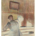 Charles D. (1915–?), Beruf unbekannt/profession unknown: Ohne Titel, Rückenansicht eines Mannes, Farbstift auf Papier / untitled, man viewed from behind, colored pencil on paper, 29,8 x 21 cm, undatiert/undated (um/around 1940), Sammlung Hans Steck, Inv. Nr. 64, ACV PP 1032/38