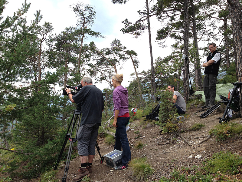 Quite a crowd in the forest: TV recordings in Salgesch (3Sat, Nano)